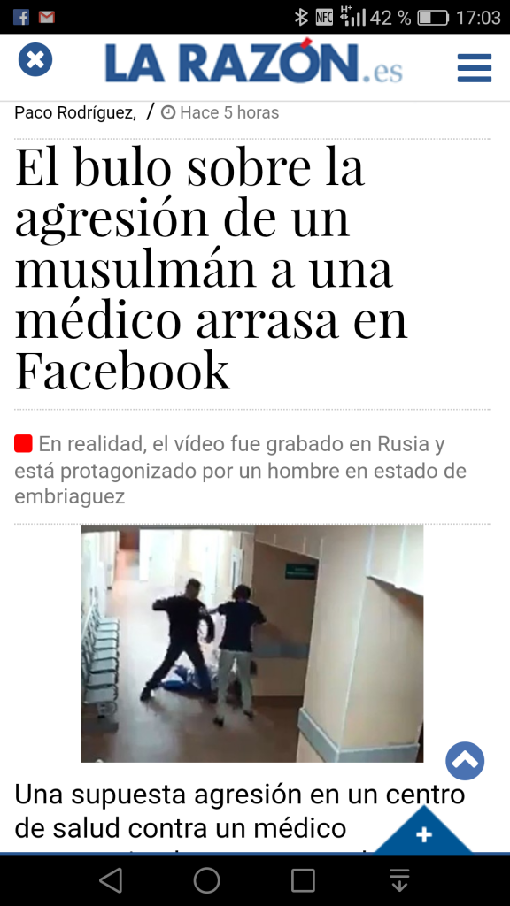 noticia falsa en redes sociales